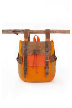 Felted Wool Оrange Backpack // Ecofriendly // от GLAFIRAfelt,