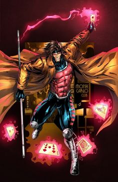 My Name is.....Gambit (Marvel Comics). I love the fact that one of this powers is the superhuman ability to throw objects with uncanny accuracy....