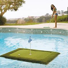 Water hazards can be the pits during a round of 18. Practice lofting the perfect pitch with this floating #golf green.