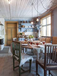 Real Kitchen, Updated Kitchen, Country Kitchen, Swedish Cottage, Swedish House, Scandinavian Living, Scandinavian Furniture, Reclaimed Wood Kitchen, Swedish Interiors