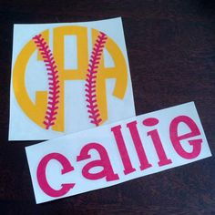 Monogram with Softball Laces  Name Decal by PalmettoMonograms