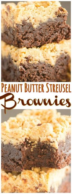 The most perfect, rich, moist, insanely chocolatey brownies, tall and thick, swirled with melted peanut butter, and covered in sweet, crunchy, melt-in-your-mouth peanut butter streusel!