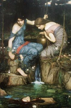 John William Waterhouse - Two Nymphs finding the head of Orpheus Description:Two Nymphs at a pool paint by the English artist John William W...