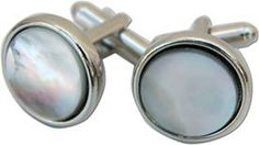 Round Silver Cuff Links with Black Mother of Pearl  http://store.classiclegacy.com/178/gifts-for-you/cuff-links #cufflink  #giftsformen #fathersday