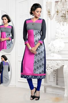 <p>Fascinating Pink and Grey Ready Made Party Wear Kurti. Blend your chic and stylish looks in this beautifully designed cotton kurti with fancy lace.</p>