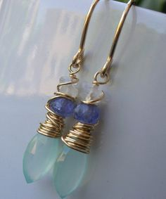Aqua Chalcedony, Tanzanite, Rainbow Moonstone, Gold Fill Earrings