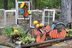 repurposed stained glass in the garden