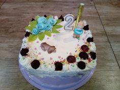 Tort truskawkowo - śmietankowy na drugie urodzinki, na dwa latka