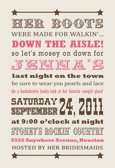 Cowgirl Western Bachelorette Invitation by InvitingPrintables Cowgirl Invitations, Bachlorette Party, Bachelorette Party Invitations, Invites, Wedding Invitations, Invitation Ideas, Shower Invitation, Just In Case, Just For You