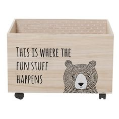 Tidy up the play room while also adding bunches of charm with this lovely little toy box. Crafted of paulownia wood, it features a clean-lined silhouette finished in brown with a whimsical bear and typographic print. Founded on a four wheel castered base, you can wheel it around to keep any area of your home safe. Fill it up with stuffed animals and your kids' favorite toys to keep them handy, then make the room even more fun by rolling out a lush shag rug, spreading around plush beanbag ...