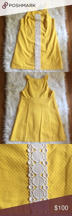 """Lilly Pulitzer Jacqueline A-Line Shift Dress NWT Lilly Pulitzer Jacqueline a-line shift dress in sunglow yellow! This is a gorgeous dress from November 2014 and has been hanging in my closet since 😭. Armpit to armpit measures approx 19"""" across, total length of dress from top of strap to bottom hem is approx 34"""", bottom of dress is approx 27"""" in width, waist measurement is approx 18.5"""" across. 100% cotton, size 14. Zipper and hook on right side.   No trades or modeling 🚫 Smoke free pet…"""