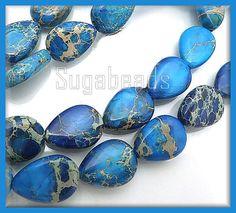 Blue Sea Sediment Jasper Tear Drop Beads 12x9mm 1 by sugabeads, $7.50