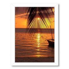 Zanzibar Sunset Palm Ocean by Wonderful Dream Framed Photographic Print by Wayfair