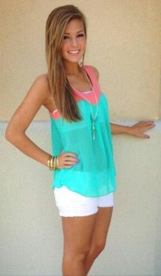 teal and coral shear top. bandeau underneath. cute!