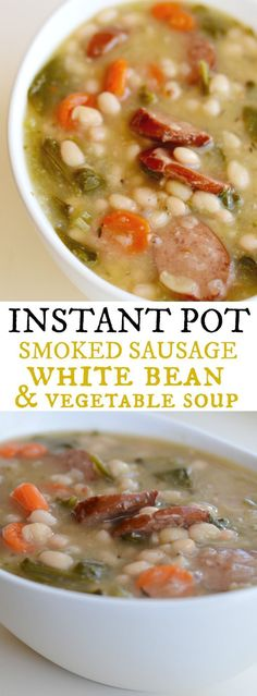 Smoked Sausage White Bean & Vegetable Soup / 23 Soul-Warming Instant Pot Soup Re. Crock Pot Recipes, Cooking Recipes, Instapot Soup Recipes, Bean Soup Recipes, Cooking Rice, Instapot Beef Stew, Instapot Beans, White Bean Recipes, Dinner Ideas