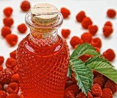 This sweet cordial is rather easily made and quite delectable. Make your own raspberry juice by pressing freshly picked and fully ripened raspberries through a sieve and strain once more through a fine sieve.