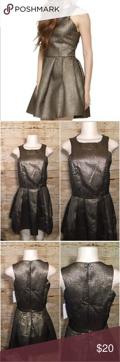 """Fashion Union Gold Metallic Fit & Flare Dress NWT Fit and flare dress. Side panels underarms are uneven. Chest 16 1/2"""" Length 33"""" Waist 14 1/2"""" HiPs 17 1/2"""" Fashion Union Dresses"""