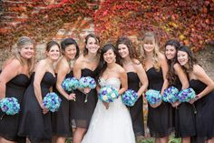 #wedding photography | bride with bridesmaids in #black dresses and #Tiffany blue bouquets.