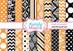 BUY 2 Get 1 FREE - 20 Digital Papers  Damask Patterns in Halloween Colours (2E no 10) for Personal Use and Small Commercial Use KandyMagick 1.30 GBP