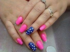 40 Easy Nail Art Designs for Beginners - Simple Nail Art Design Cute Nail Art, Beautiful Nail Art, Easy Nail Art, Cute Nails, Trendy Nails, Dot Nail Designs, Simple Nail Art Designs, Shellac, Long Oval Nails