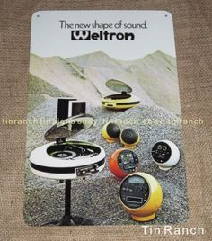 vintage-WELTRON-TIN-SIGN-retro-GEC-2007-space-age-STEREO-record-player-advert