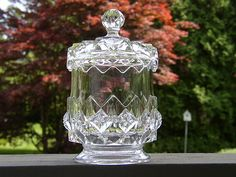 """EAPG COVERED SUGAR JAR, Pattern """"O'Hara's Diamond"""", also known as """"Sawtooth Star""""....from O'Hara Glass,  circa1885, and also U.S. Glass c.1891, 7""""H x 3.75""""D"""