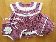 Free PDF baby crochet pattern for dress, knickers & bonnet http://www.justcrochet.com/dress-knickers-bonnet-usa.html #justcrochet