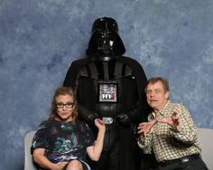 Carrie Fisher with Darth Vader & Mark Hamill