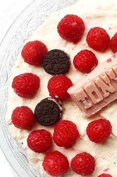 Vieruurtje: Cheesecake met Oreo, Tony's chocolonely en frambozen