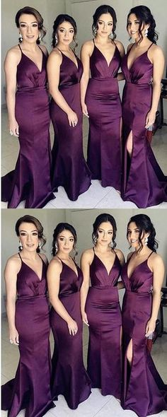 Purple Side Slit Mermaid Cheap Long Bridesmaid Dresses Online, WG285 #bridesmaiddresses #purplebridesmaiddresses #longbridesmaiddresses #simplebridesmaiddresses