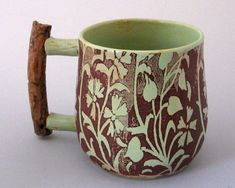 Ceramic Mug with Ponderosa Pine Handle  8 oz  Hand Thrown