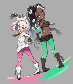 Pearl and Mariana Nintendo Splatoon, Splatoon 2 Art, Squid Games, Marina Splatoon, Ninga Turtles, Pearl And Marina, Character Wallpaper, Epic Games, All Art