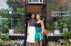 The Sill founder Eliza Blank with friend and jewelry designer Anna Sheffield outside The Sill Shop NYC
