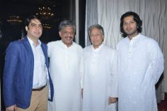 Ustad Amjad Ali Khan with his son Ayaan Ali Khan at an event, at the Taj Mahal Hotel, New Delhi.