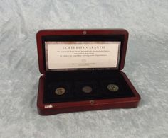 Boxed Set Of Three Genuine Bronze Roman Coins 307-361 AD Rated Extra Fine Roman, Coins, Bronze, Ads, Rooms