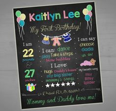 Baby's First Printable Birthday Chalkboard Sign - Balloon - Teddy Bear - Girl - Milestone Sign - Printable Stats Sign - 8x10 - 16x20 - 1st