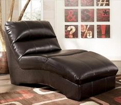 Espresso Leather Chaise Lounge Chair With Pillow Top Placed On Comfy Chairs