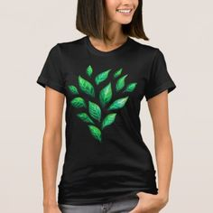 Abstract Ink Drawn Green Leaves T-Shirt - gift idea custom