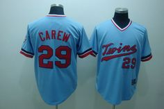 $22.00 MLB Jerseys Minnesota Twins Rod Carew #29 Light Blue