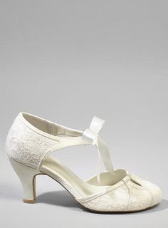 Ophelia Vintage Mid Heel Ribbon T-Bar Shoes, Ivory