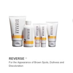 Reverse Rodan + Fields Reverse regimen for the appearance of brown spots, freckles, dullness and discoloration! You get a deep exfoliating cleanser, brightening toner, dual active brightening moisturizer and SPF 50 sunscreen!! If you don't see any results or don't like the product you can return for a full refund! All bottles are new and sealed!www.erinfernandes.myrandf.com Rodan and fields Makeup
