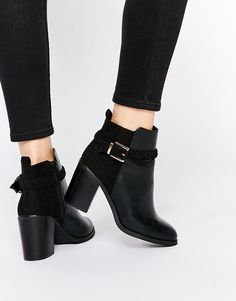 Miss KG   Miss KG Swift Black Block Heel Ankle Boot With Straps at ASOS