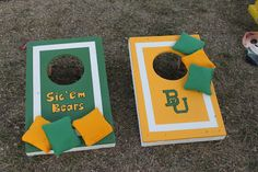Adorable custom-made Baylor cornhole boards!