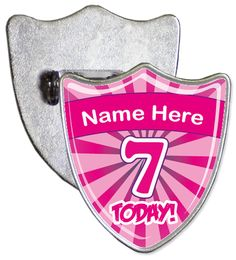 Custom 7th birthday badge. Simply enter the name that you would like to be added onto your badge and we will create a custom shield shaped personalised birthday badge.