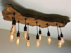 Media Live Edge oliva legno Lampadario Lampada con lampadine