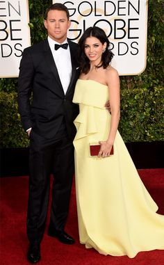 Channing and Jenna Tatum (wearing Carolina Herrera)! #GoldenGlobes