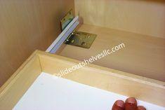 Pan Lid-Cooking Sheet Sliding Shelf-Slide Out Shelves LLC® Kitchen Pull Out Drawers, Kitchen Cabinet Shelves, Drawer Shelves, Shelf, Pantry Cabinets, Natural Stone Backsplash, Wood Backsplash, Slide Out Shelves, Sliding Shelves