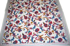 Best of Kashmir - Crewel Cotton Bedspread Off-White, Multicolor Embroidery