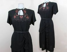 1940s Black Rayon Crepe Dress with beads & Sequins  Peplum