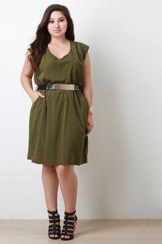 Short Sleeves Gold Metallic Belt Casual Dress